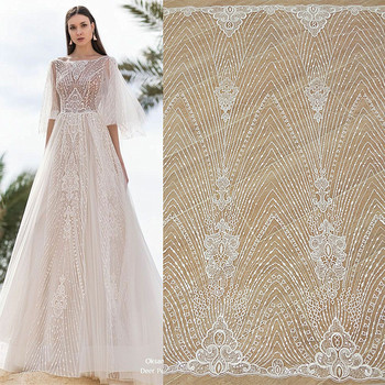New summer European and American striped radiation sequin lace fabric cloth wedding dress DIY production materials embroidery 110cm wide wedding dress lace embroidery diy women clothes materials clothing fabric accessories ivory white church happy hour