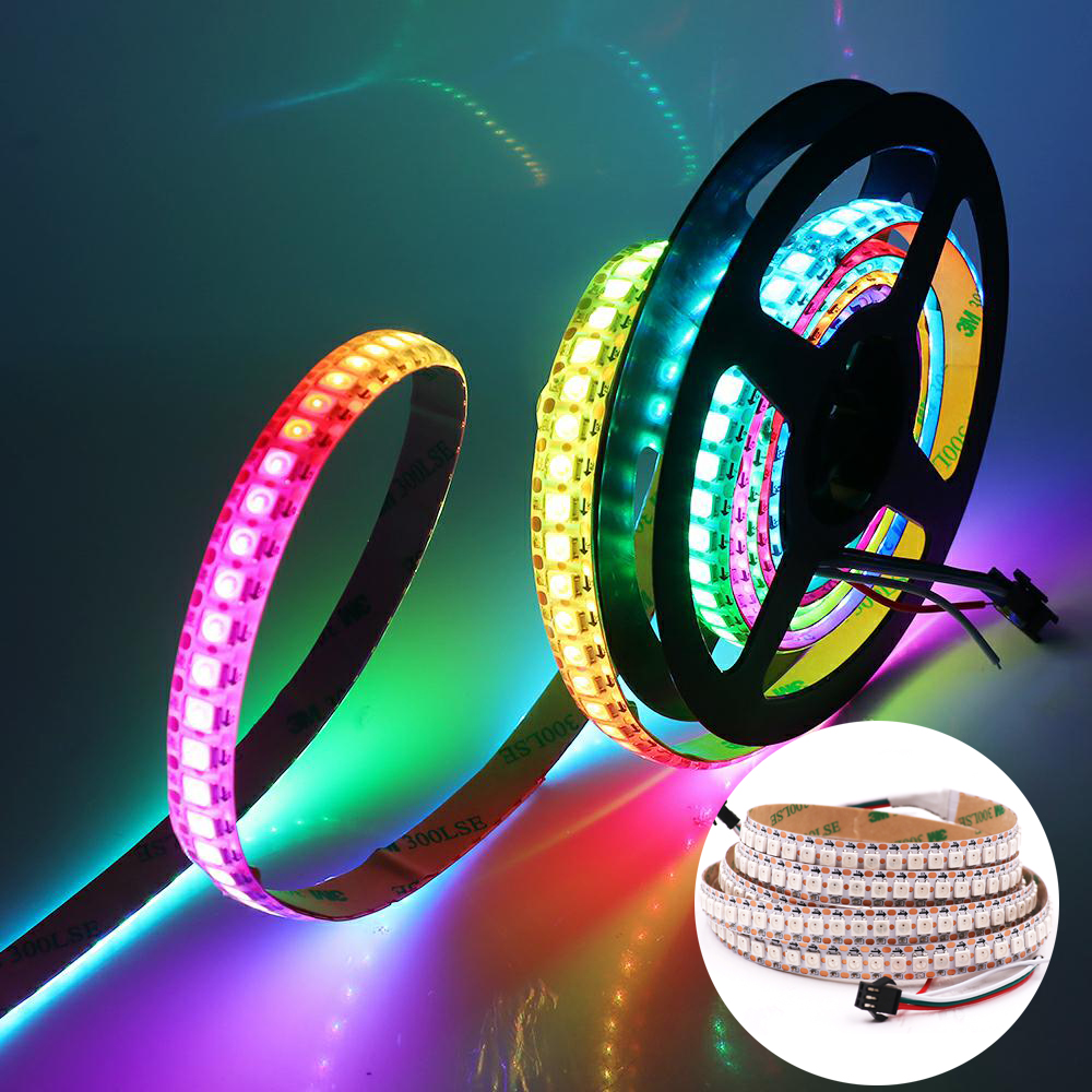5V RGB LED Strip Light WS2812B 5050 Waterproof 144LED/m 30LED/m 60LED/m RGB WS2812 Flexible LED Tape Pixel Strip 1m 2m 3m 4m 5m image