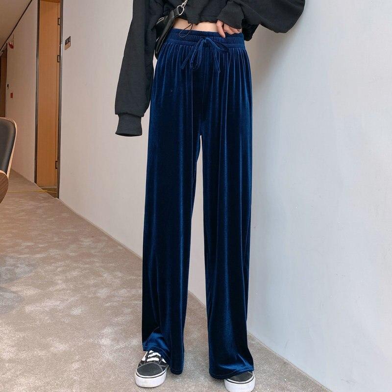 New Soft Velvet Wide Leg Pants Women's Autumn Pants Straight Tube High Waist Slim Long Loose Pants Female Thin Pleuche Pants