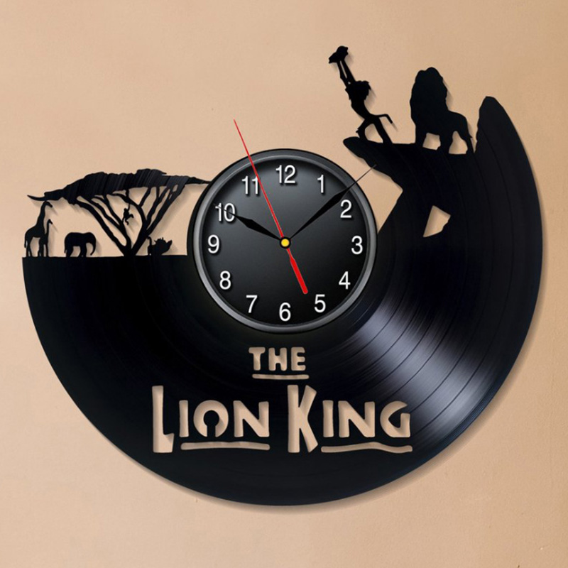 The Lion King  Vinyl Record Wall Clock Modern Design Deecorative Kids Room Cartoon Movie Theme 3D Clock Wall Watch Home Decor