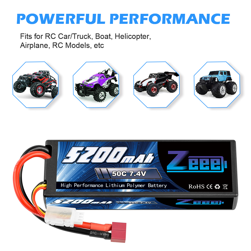 2units Zeee 5200mAh 7.4V 50C Lipo Batteries for RC Car 2S RC Lipo Battery with Deans Plug For RC Car Truck Helicopter Boats