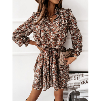 Women Ruffles Floral Print V Neck Long Puff Sleeve Dress 2020 Autumn Casual Drawstring Sashes Dress Female A Line Party Vestidos spring long sleeve ruffles dress for women solid v neck casual loose mini dress button female autumn a line office vestidos