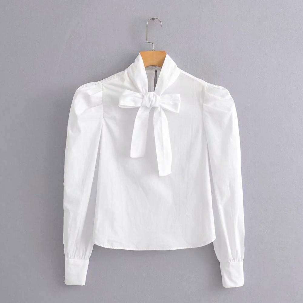 New 2020 Women Fashion Bow Tied Collar Puff Sleeve Casual White Blouse Retro Women Chic Shirts Business Chemise Tops LS6192