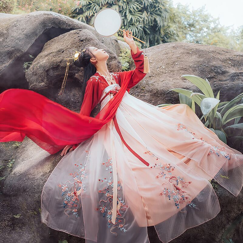 Chinese Traditional  HanFu Women Photography Dress Fairy Cosplay Folk Ancient Costume New Year Party Embroidery Hanfu Dress Gril