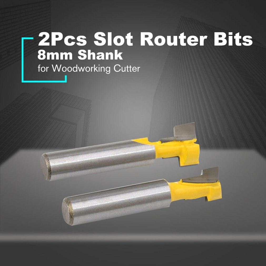 2PCS Set 8mm Shank T-Slot Keyhole Router Bits Woodworking Cutter Wood Milling Cutter Router Bits With High Toughness