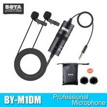 Boya BY M1DM Microfoon Met 6M Kabel Dual Head Lavalier Revers Clip On Voor Dslr Canon Nikon Iphone camcorders Opname Vs BY M1