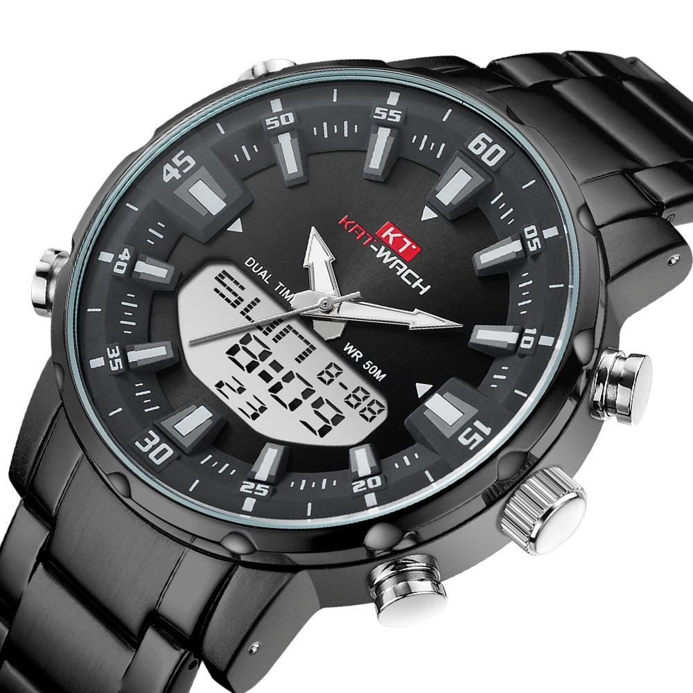 KAT-WACH Brand Men Watch Sports Digital Watches Men Waterproof Steel Military Quartz Watch For Men Wristwatch Relogio Masculino