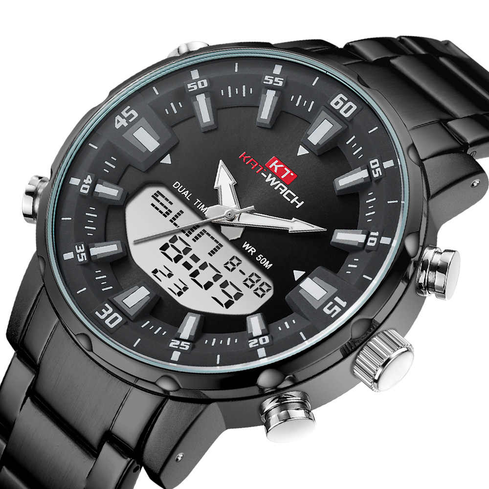 KAT-WACH marca masculino relógio de pulso relógio de pulso de quartzo militar de aço à prova dwaterproof água