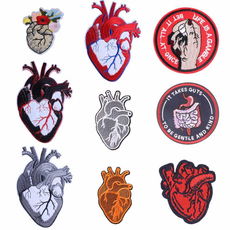 Organowe serce haftowane naszywki na przenikanie ciepła łatka dekoracyjna ubrania ręczne odznaki naklejka na plecak drukowane paski naklejka H