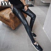 Gothic Skinny Leather Pants Mens Motorcycle Slim Elastic Straight Push Up Pencil Pants Punk Streetwear Fashion Black Trousers