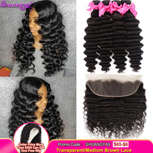 Loose Deep Wave Bundles With Frontal Brazilian Hair Weave Bundles With Closure Shuangya Deep Loose Wave bundles With frontal(China)