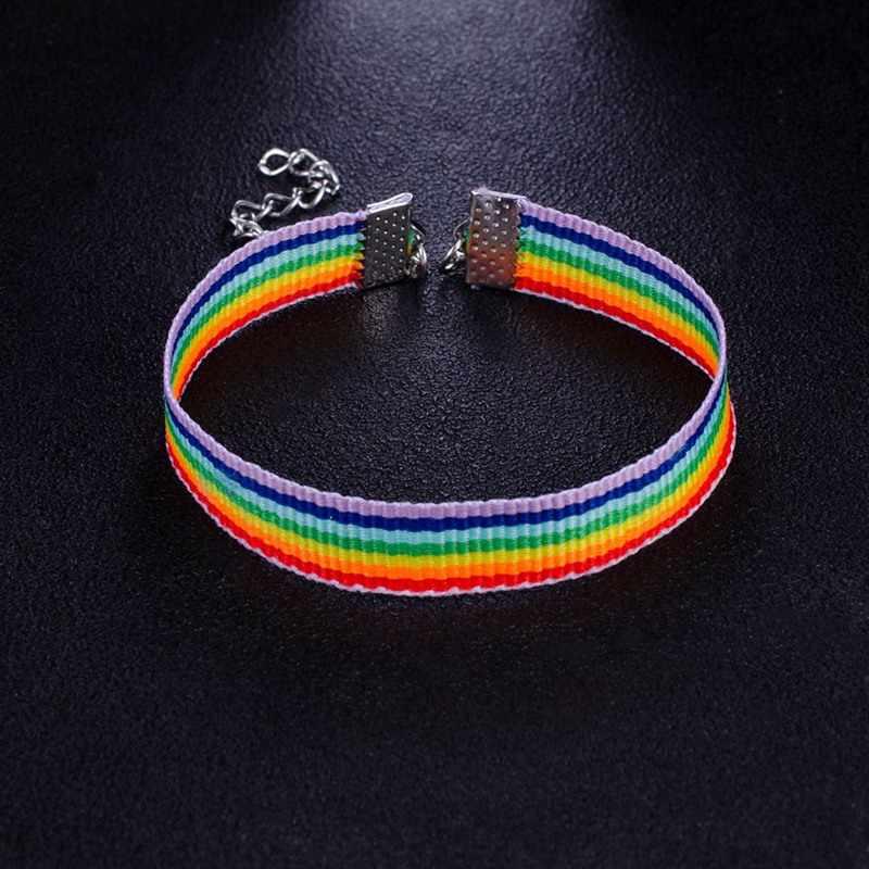 1 Pcs Unisex Rainbow Gelang untuk Pria Wanita Warna-warni Persahabatan Gelang Sederhana Kasual Olahraga Pergelangan Tangan Jaringan Orang Dewasa Perhiasan