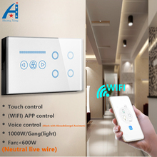 UK Standard 146 type Wall Smart switch, 4Gang light switch with 600W Fan switch, Wifi control light switch and touch control fan