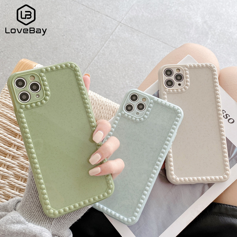Lovebay Solid Color Glossy Granular Anti-skid Edge Cases For iPhone 11 Pro XS Max X XR 7 8 Plus Protect Soft TPU Back Cover
