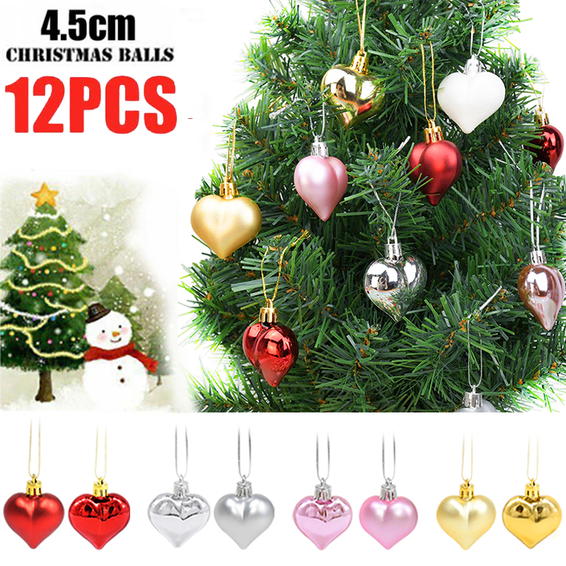 Xmas Jingle Bell Set 1 3 6 Red//Silver//Gold Star//Heart Hanging Decoration Baubles