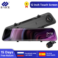 Автомобильный видеорегистратор E-ACE A39, 12,0 дюймов, зеркало заднего вида FHD 1080 P, автомобильная камера с двумя объективами, видеорегистратор