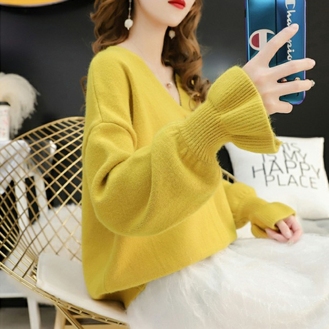Ailegogo Women Stylish Knitted Cardigan 2019 Autumn Spring Pure Color V Neck Flare Sleeve Button Casual Ladies Sweaters Tops 2