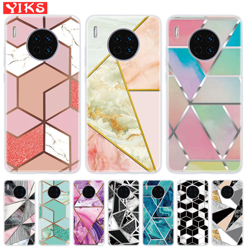 Luxury Geometric Marble Case For Huawei Mate 20 10 <font><b>Lite</b></font> <font><b>30</b></font> Cover For Huawei P8 P9 <font><b>Lite</b></font> 2017 P20 P30 Pro P10 <font><b>Lite</b></font> <font><b>P</b></font> Smart Plus image