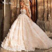 Adoly mey 디자인 로맨틱 strapless 레이스 a 라인 웨딩 드레스 2020 럭셔리 골치 아플리케 법원 기차 공주 신부 가운