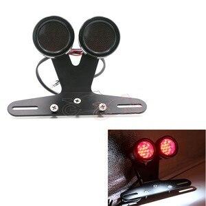 Universal retro cafe racer motocicleta malha led taillight duplo scooter traseiro parar lâmpadas de freio + suporte montagem da placa licença