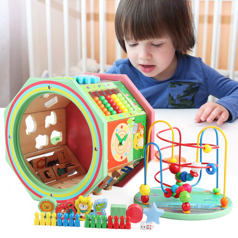 Children Wooden Early Education Multi-functional Educational Force Eight Large Bead-stringing Toy Treasure Chest Parent And Chil