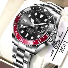 LIGE marka Luxury Men zegarki automatyczny zegarek z datownikiem mężczyźni ze stali nierdzewnej wodoodporny biznes sportowy zegarek na rękę kwarcowy Reloj Hombre tanie tanio 22cm BIZNESOWY QUARTZ 3Bar Klamerka z zapięciem CN (pochodzenie) STAINLESS STEEL 12mm Hardlex Kwarcowe zegarki Papier 42mm