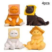 4Pcs Cute Toast Cats Mini Figurine Kids Toy DIY Fairy Garden Cake Ornaments DIY landscape decoration non-toxic cat design Resin