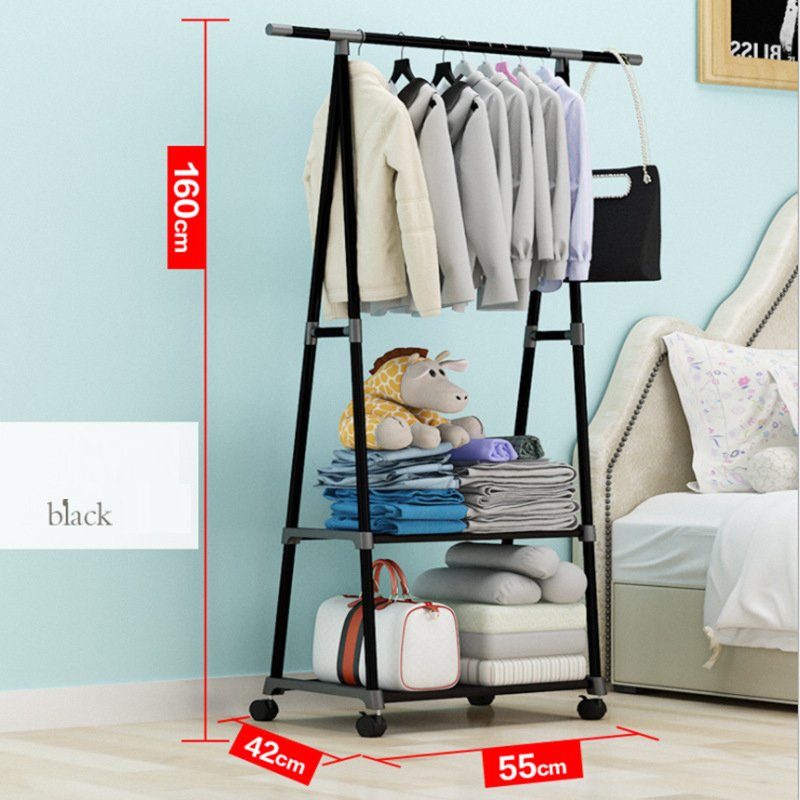 Removable Bedroom Hanging Clothes Rack with Wheels Floor Standing Coat Rack Multi-function Modern Triangle Coat Wardrobe Hanger