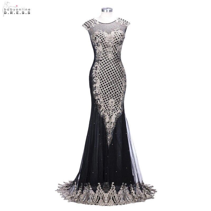 Robe de soirée noire Illusion Sexy Robe de soirée Longue luxe sirène robes de soirée perlées avec Appliques Robe de soirée Longue