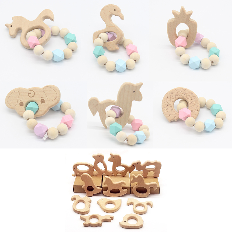 Wooden Silicone Beads Teether Ring Animals Infant Baby Teething Bracelet Toy