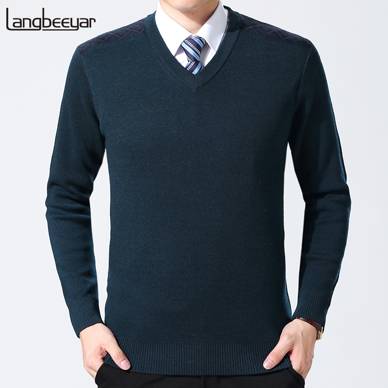 2019 New Fashion Brand Sweaters Men Pullovers Wool Slim Fit Jumpers Knit V Neck Top Grade Autumn Korean Style Casual Men Clothes