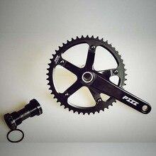 משתינים חלול קבוע ציוד אופני יחיד מהירות אופניים CrankSet שרשרת גלגל Freewheel קראנק & Chainwheel 48/49/51T אלומיניום סגסוגת