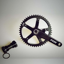 Pizz Hollow Fixed Gear Bike Single Speed Bicycle CrankSet Chain Wheel Freewheel Crank & Chainwheel 48/49/51T Aluminum Alloy