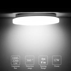 Lampa sufitowa LED 12w lampa z czujnikiem ruchu montowane na powierzchni Auto Smart Radar Control AC 220V okrągła lampa panelowa
