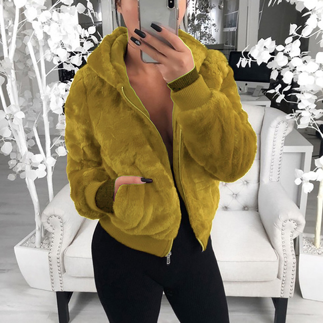 Short Style Faux Lamb Fur Hooded Jacket Coat Women Winter Autumn Thick Warm Soft Fluffy Zipper Parka Outerwear With Pockets