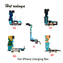 Charging Flex Cable For iPhone 7 8 Plus USB Charger Port Dock Connector With Mic Flex Cable For iPhone X Charging Port цена