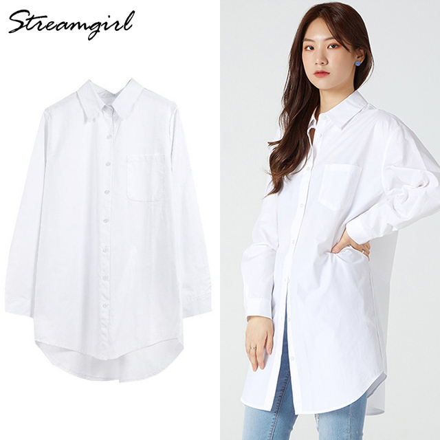 White Blouse Shirts Women Cotton Tunics Plus Size Long Tops White Button Shirt Feminine Blouses Spring Oversize Shirts Blouses 1