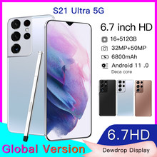 Galxy 6.7 Polegada 6800mah venda quente s21 ultra smartphone 50mp tela grande 5g 12gb 512gb 10 núcleo telefone celular celular