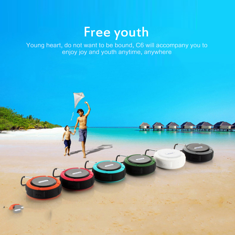 Hot Mini Portable Bluetooth Speaker C6 Waterproof Big Suction Cup Bluetooth Stereo outdoor sports mini Portable TF subwoofer