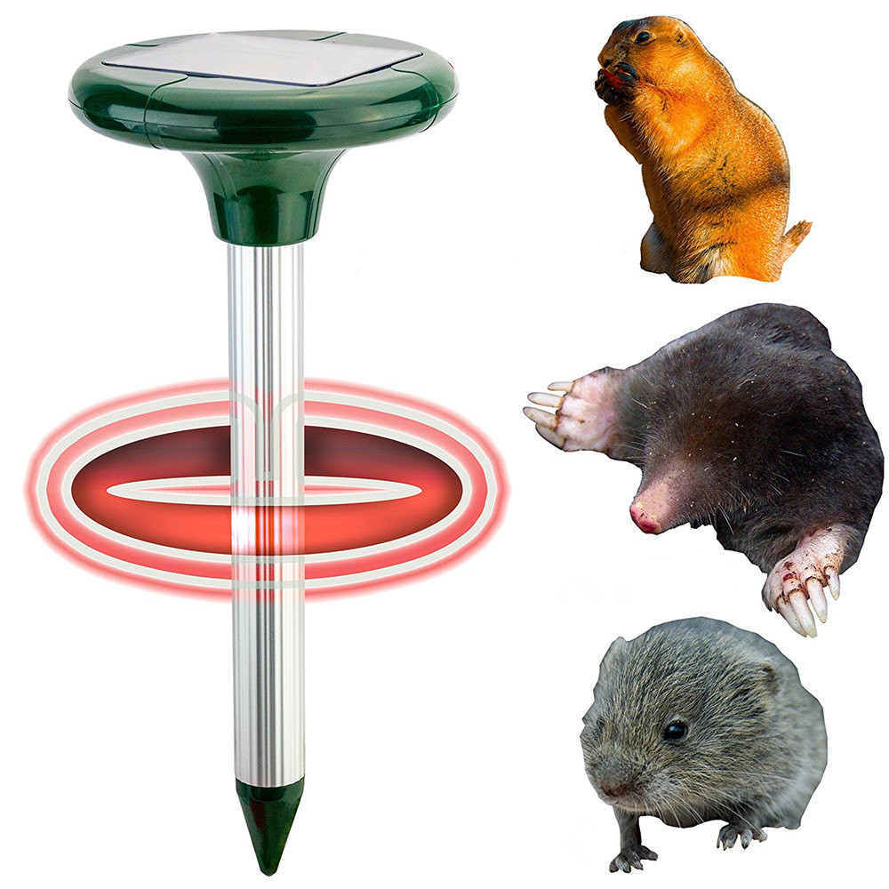 2 Pack Ultrasonic Outdoor 7000 Sq Pest Control Solar Mole Repellent Voles And Gophers Yard Stakes Bird Repeller Garden Supplies