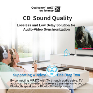 Image 2 - aptX LOW LATENCY Optical Audio Bluetooth Transmitter for TV Wireless Audio Adapter for Dual Headphones or Speakers MR270