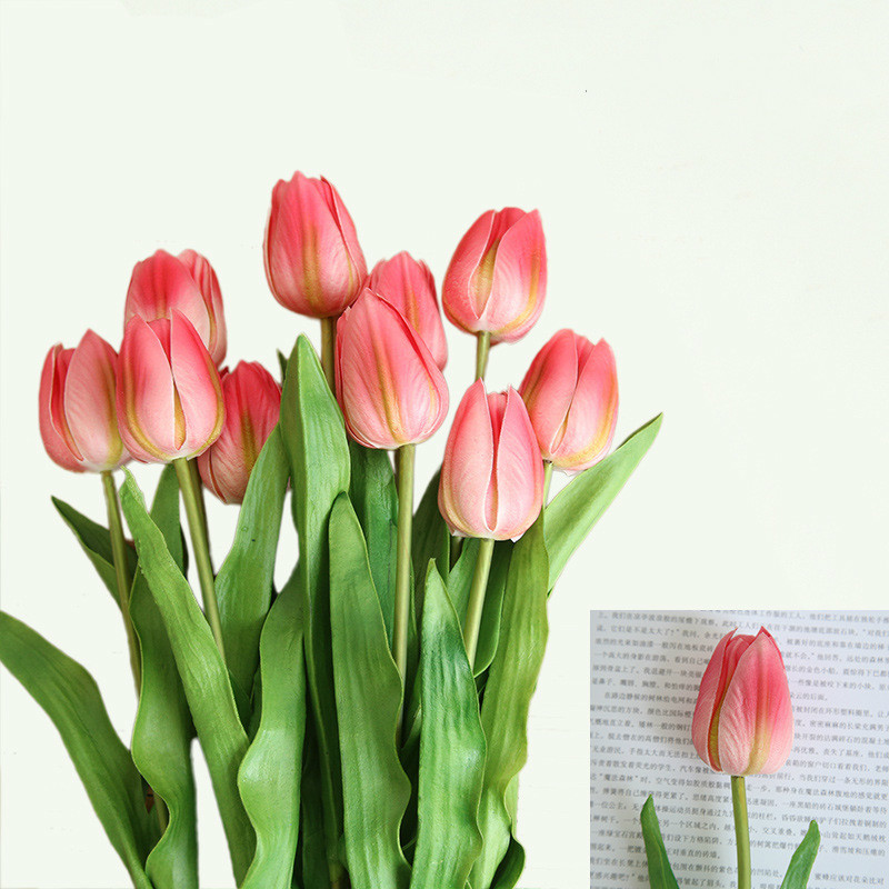 10 Pcs PU Latex  Tulip Artificial Flowers Real Touch Flowers for Wedding Decorative Flowers Home Accessories 46cm Long Branch
