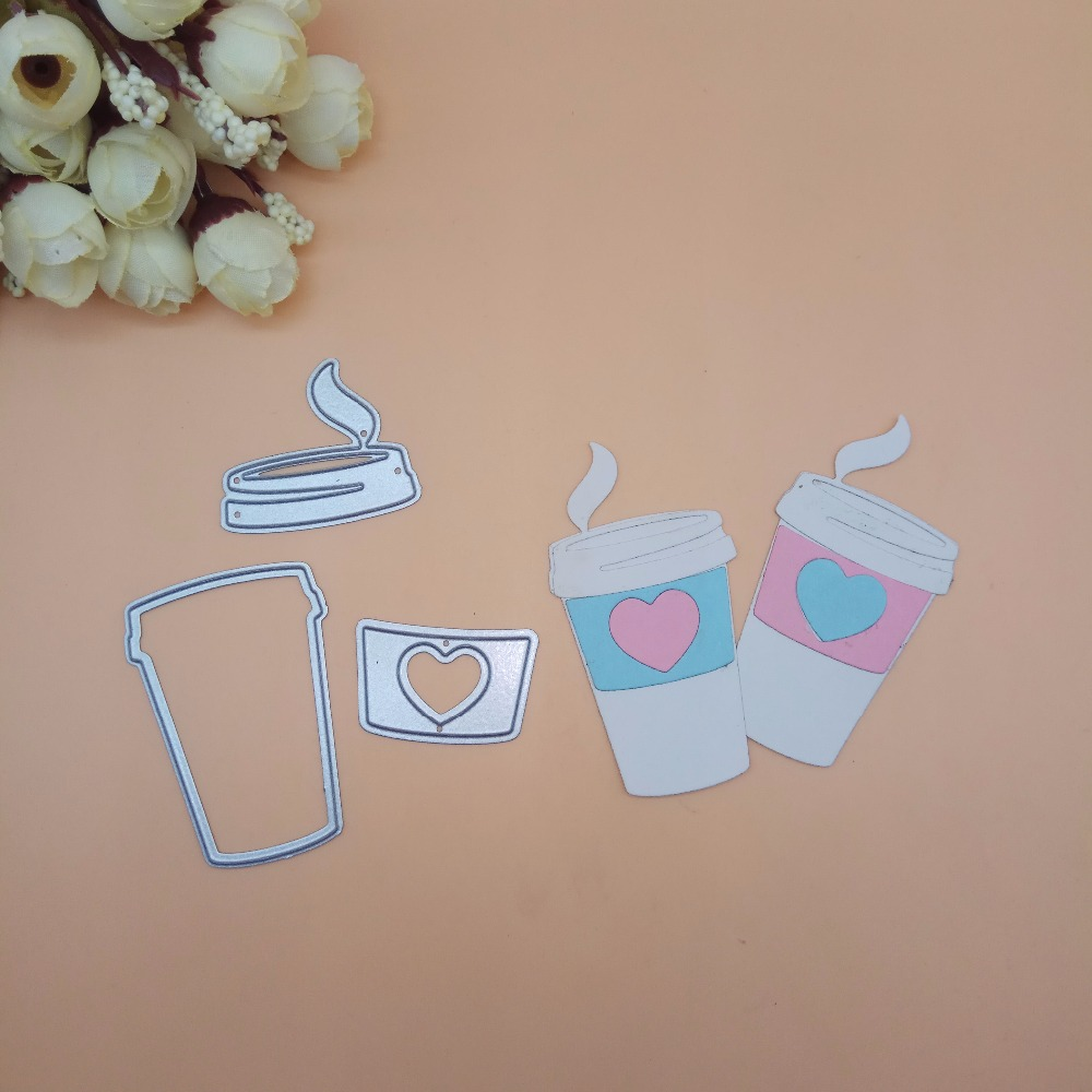 Coffee cup with Heart Metal cutting dies DIY Die Cut Stencil Decorative Scrapbooking Craft Card stencils