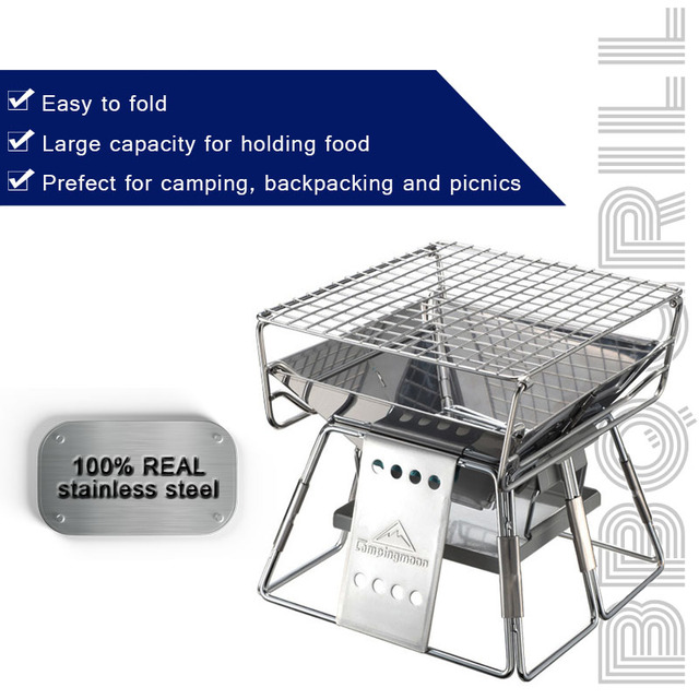 Folding Portable Stainless Steel BBQ Grill  3