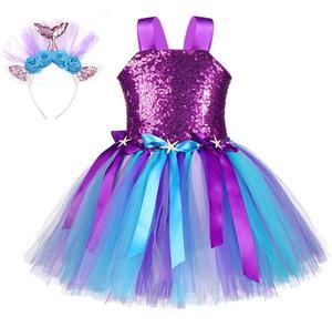 Image 3 - Kızlar Unicorn Pony kostüm kafa bandı ile Tutu elbise çiçek pullu prenses kız parti elbise çocuk çocuklar Unicorn kostümleri yeni
