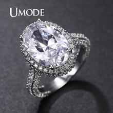 UMODE Luxury Female Crystal Oval Zircon Stone Ring Fashion Silver Wedding Jewelry Promise Engagement Rings For Women UR0578A