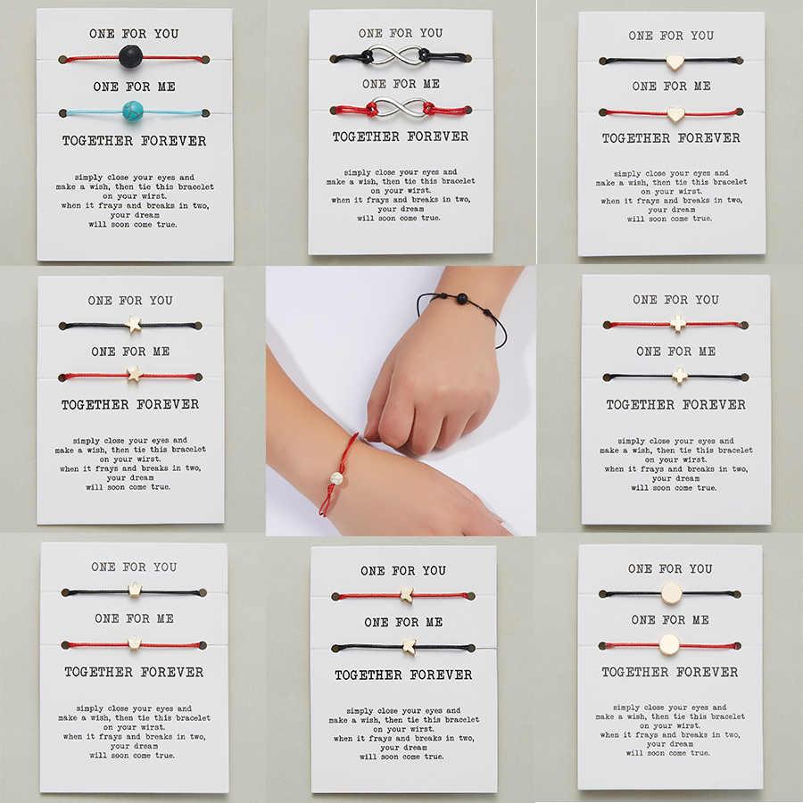 2 pçs/set Coração Estrela Cruz Charme Pulseiras para você um para mim Vermelho Corda Trança Pulseira Casal para Homens Mulheres Cartão de Desejo