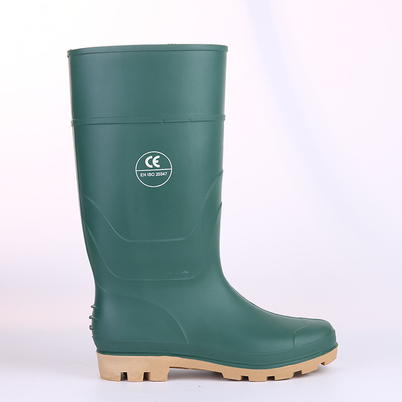 Labor Safety Rain Boots Steel Top Steel Bottom Boots  Rain Boots PVC Anti-slip Wearable Industry Mine Rain Shoes Tunnel Constru