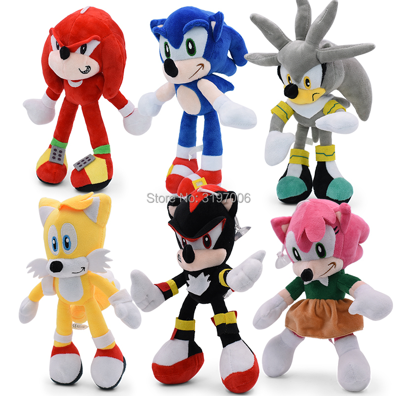 8Style Sonic Plush Doll Toys 12''8'' Sonic Shadow Amy Rose Knuckles Tails Plush Toys Cotton Soft Stuffed Gift For Kids Christmas