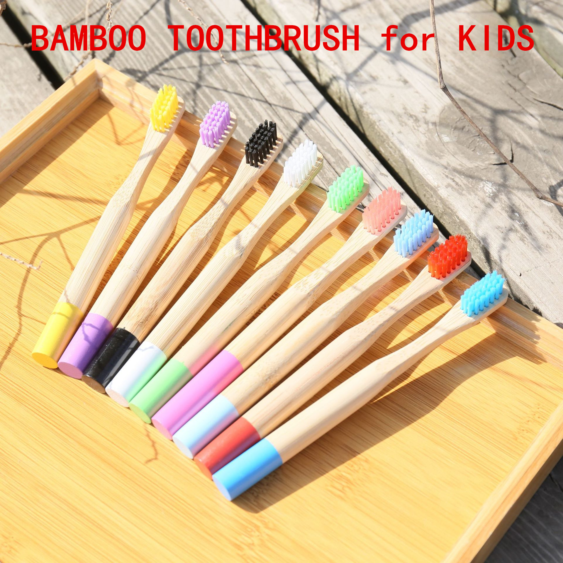 20PC Kids Bamboo Toothbrushes Soft Bristles Eco Natural Biodegradable Oral Care Toothbrush Mix Colors Child Bamboo Toothbrush image